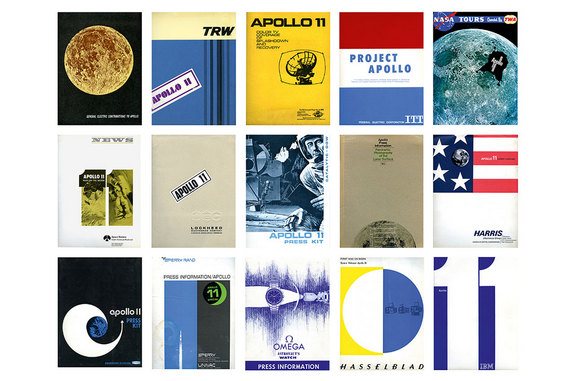 "— A colorful collection of original Apollo 11 press kits as they appear in ""Marketing the Moon: The Selling of the Apollo Lunar Program"" by David Meerman Scott and Richard Jurek."
