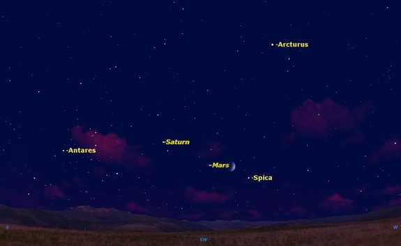 On August 2, the moon has moved to lie between Spica and Mars.