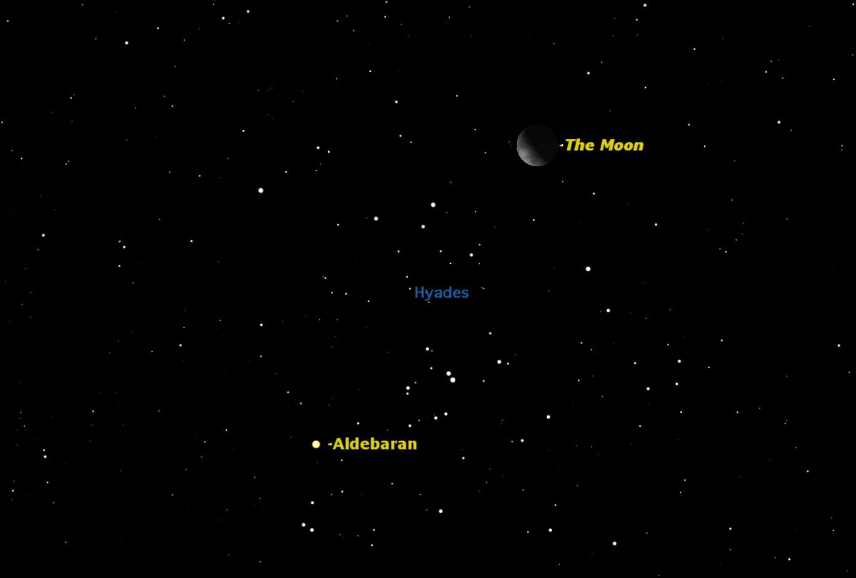 Aldebaran, the Hyades, and the Moon, August 2014