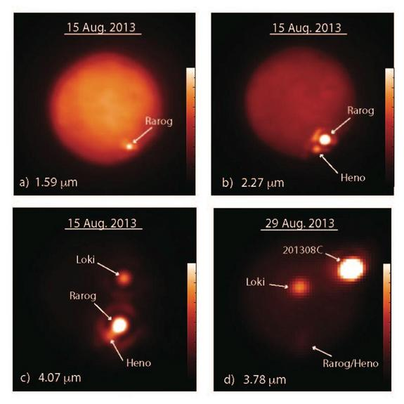 Jupiter's moon Io is pictured in images obtained at different infrared wavelengths (in microns, μm, or millionths of a meter) with the W. M. Keck Observatory's 10-meter Keck II telescope on Aug. 15, 2013 (a-c), and the Gemini North telescope on Aug. 29, 2013 (d).