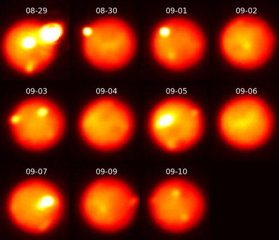 Images of Jupiter's moon Io show the evolution of the eruption as it decreased in intensity over 12 days, from Aug. 30 to Sept. 10.