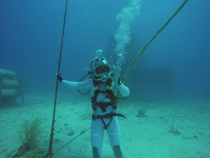 European Space Agency astronaut Thomas Pesquet does a simulated spacewalk during the NEEMO 18 mission, which took place 62 feet underwater off the coast of Key Largo, Florida.
