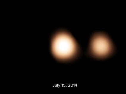 Pluto and Charon on July 15, 2014