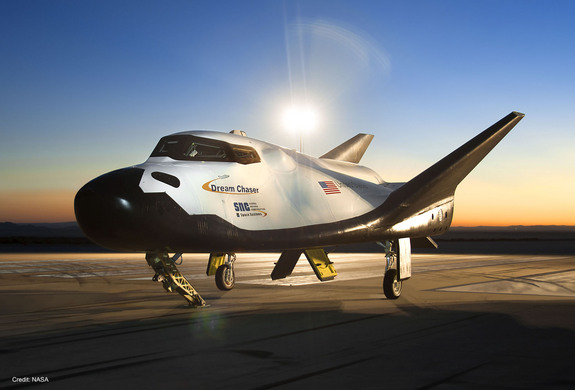 A prototype of the Dream Chaser space plane built by Sierra Nevada Space Systems is seen at dawn at NASA's Armstrong Flight Research Center in California during its drop-test campaign.