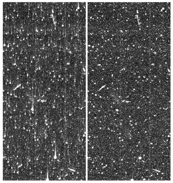 Image smearing caused by CTI in a Hubble Space Telescope image shown as the raw image (left) and after image correction has been applied (right). Hubble's radiation mitigation strategy was unique, send up astronauts to replace the sensors.