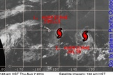 A map from the National Weather Service shows the position of hurricanes Iselle and Julio in relation to Hawaii early Thursday (Aug. 7).