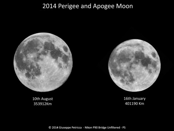 Astrophotographer Giuseppe Petricca of Sulmona, Abruzzo, Italy photographed the biggest full moon of 2014 on Aug. 10, 2014 (a supermoon) and compared it to the smallest full moon of the year on Jan. 16, 2014, in this stunning view.