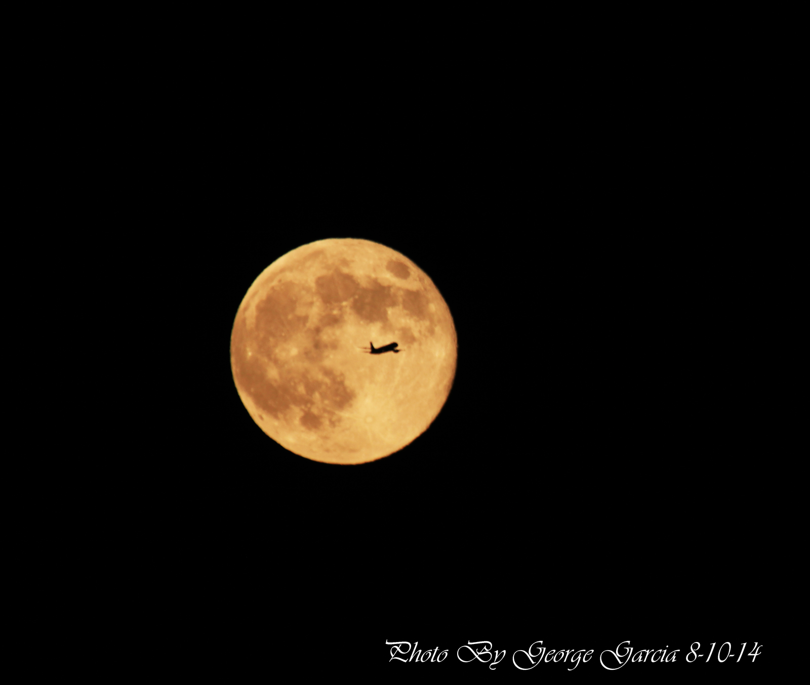 August 2014 Supermoon with Plane