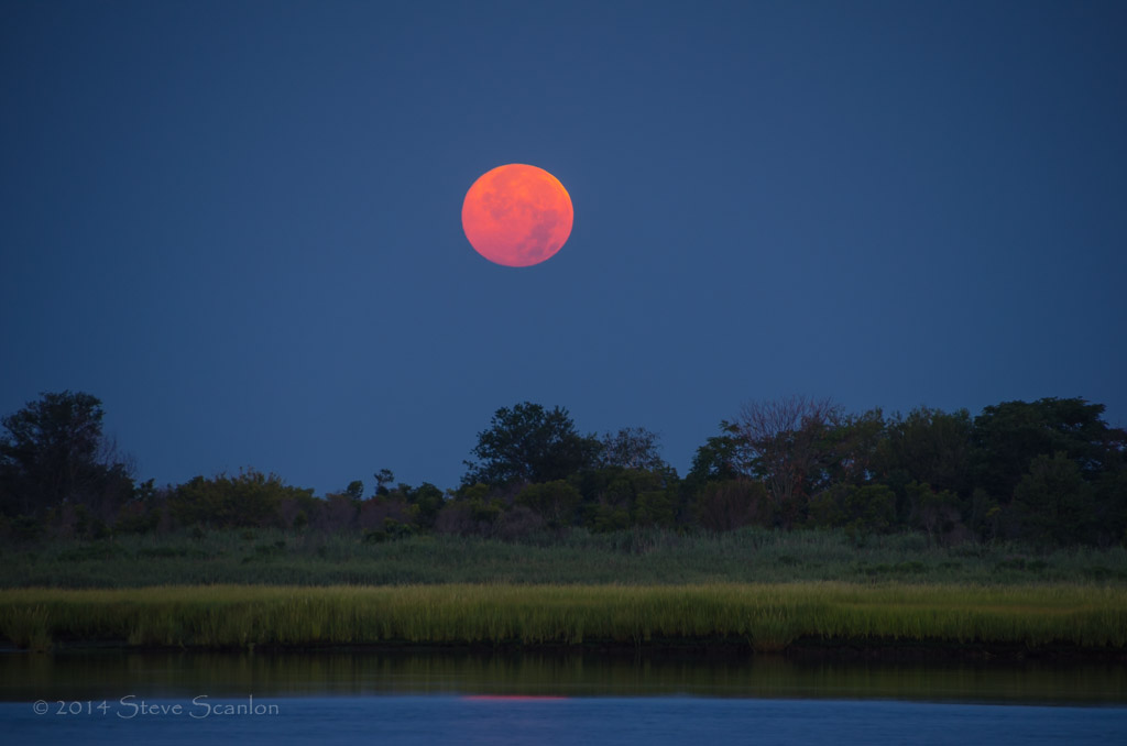 August 2014 Supermoon Over Shrewsbury River, New Jersey