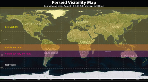 This NASA graphic is a visibility map for the 2014 Perseid meteor shower around the world.