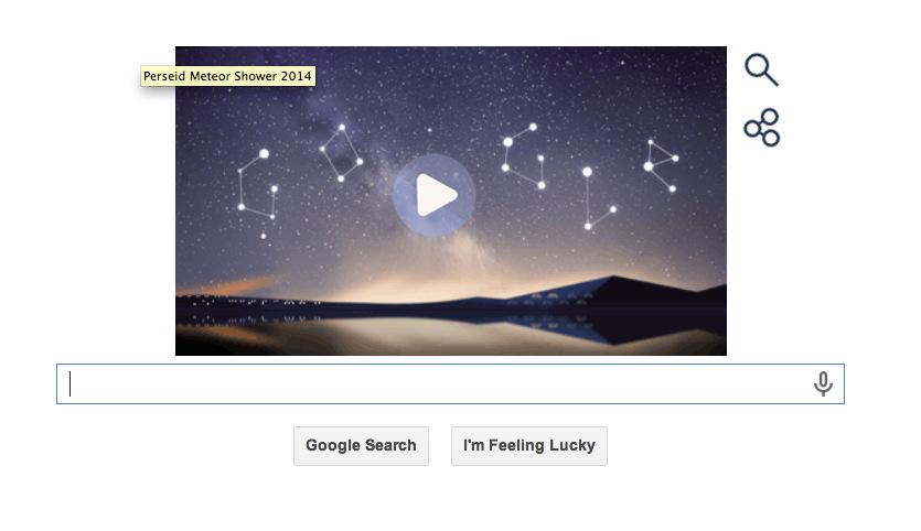 Perseid Meteor Shower Stars in Google Doodle