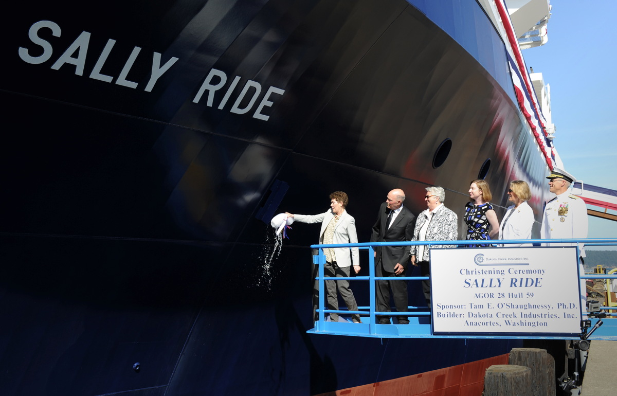 Navy Christens Research Ship for Sally Ride, 1st US Woman in Space