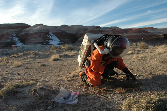 "A mock Mars explorer digs into the surface of Earth, which serves as an analog for the Red Planet during an episode of ""Man vs. the Universe."""