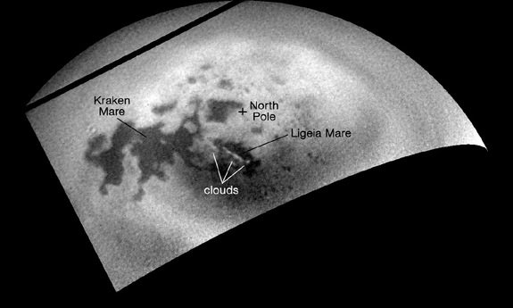 NASA's Cassini spacecraft viewed renewed cloud activity in Titan's northern polar region. Image taken on July 21, 2014.