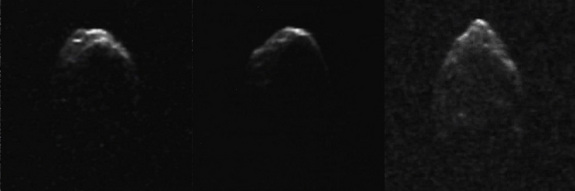 This sequence of images show the asteroid 1950 DA as it rotates over a 48-minute period on March 4, 2001. Astronomers used the Arecibo Observatory in Puerto Rico to take radar observations of the asteroid shown here. Asteroid 1950 DA is about four-fifths of a mile wide (1.3 kilometers).