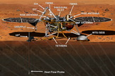 The Interior exploration using Seismic Investigations, Geodesy and Heat Transport (InSight) spacecraft on Mars, following robotic arm deployment of Heat Flow and Physical Properties Package (left) and the Seismic Experiment for Interior Structure device (right).