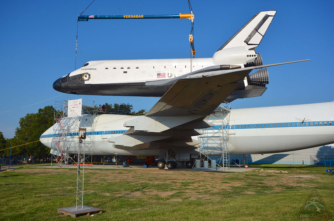 Rise of Independence: Mock Space Shuttle Hoisted Atop Historic NASA Jet