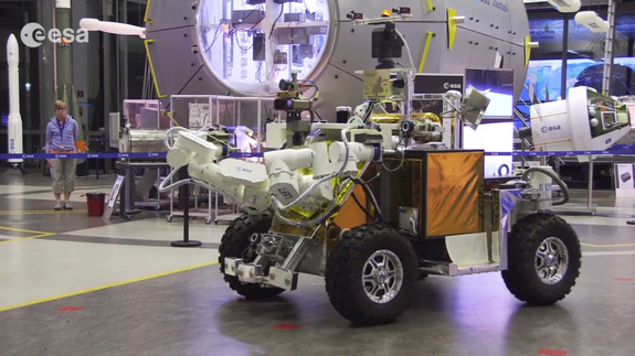 A rover controlled by German astronaut Alexander Gerst on the International Space Station takes a test drive around the European Space Agency's ESTEC Center (European Space Research and Technology) in Noordwijk, the Netherlands.