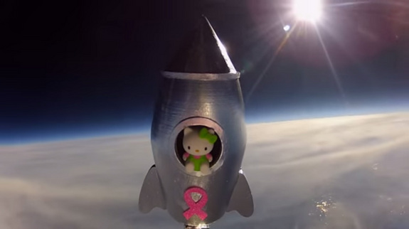 In 2013, seventh grader Lauren Rojas of Antioch, California launched a Hello Kitty doll into Earth's stratosphere as part of a science project at Cornerstone Christian School.