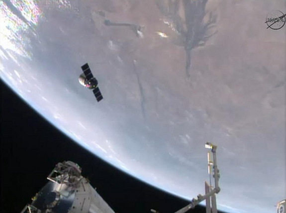 Orbital Sciences' Cygnus spacecraft seen from the International Space Station after its release on Aug. 15, 2014.