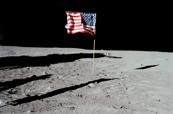 Apollo 11 moonwalkers Neil Armstrong and Buzz Aldrin planted this American flag on the moon on July 20, 1969.