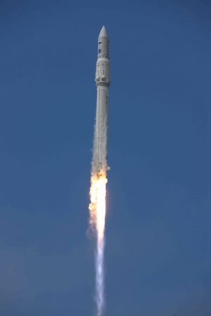 An Angara rocket, the first in Russia's new launch vehicle family, soars skyward after a July 9, 2014 launch from Plesetsk Cosmodrome during a test flight.