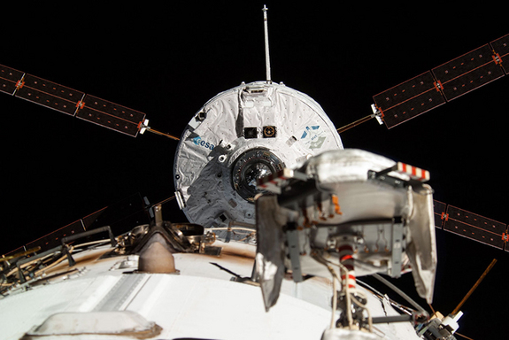 "The ""Georges Lemaître"" Automated Transfer Vehicle (ATV-5), as photographed by an Expedition 40 crew member, is seen as it is about to dock to the International Space Station. CREDIT: NASA/ESA"
