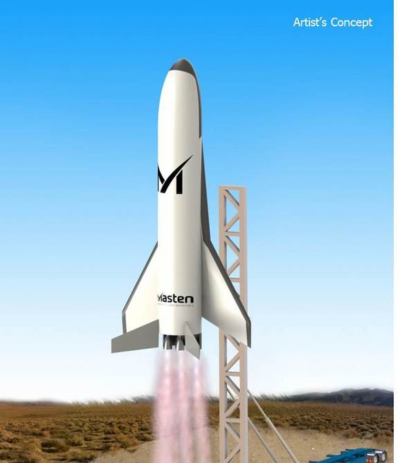 Artist's concept of Masten Space System's design for DARPA's XS-1 reusable space plane.
