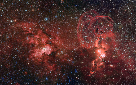 Two star-forming regions in the Milky Way shine in this photo taken by a telescope in Chile.