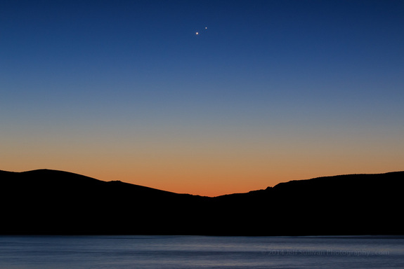 Astrophotographer Jeff Sullivan took this image of Jupiter and Venus above Topaz Lake on the border between California and Nevada.