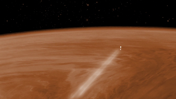 An artist's depiction of the European Space Agency's Venus Express spacecraft streaking through the Venusian atmosphere during its month-long aerobraking maneuver in 2014.