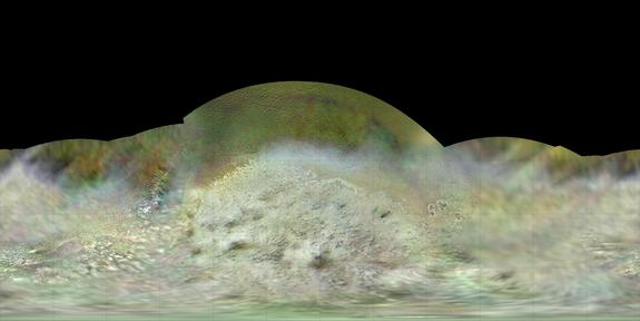 Paul Schenk of the Lunar and Planetary Institute used data from NASA's Voyager 2 spacecraft, which flew by Neptune and its big moon Triton on Aug. 25, 1989, to create this best-ever global color map of the moon.