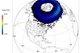 This diagram from the Community Coordinated Modeling Center at NASA's Goddard Space Flight Center in Greenbelt, Maryland, shows where auroras might have glowing as the International Space Station (ISS) flew over Earth on Aug. 19, 2014.
