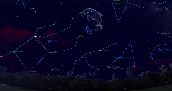 This sky map of the Delphinus constellation shows the location of the cosmic Dolphin in the late August sky, while looking southeast at 9 p.m. local time from mid-northern latitudes.