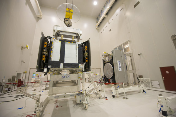 The first two Galileo Full Operational Capability satellites (SAT 5-6) during preparations inside the S5A building, before fuelling operations, on July 30, 2014. The satellites were launched into the wrong orbit by their Soyuz rocket on Aug. 22, 2014.