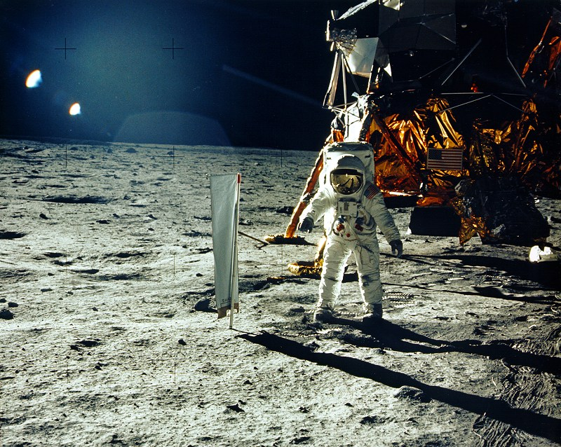 "Apollo 11 lunar module pilot Buzz Aldrin kicks up moon dust during a moonwalk on NASA""s historic first manned lunar landing mission in July 1969."