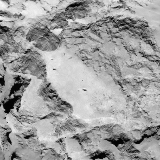 Philae lander candidate landing site A is located on the larger lobe of Comet 67P/Churyumov-Gerasimenko, but in good view of the smaller lobe. Image released Aug. 25, 2014.