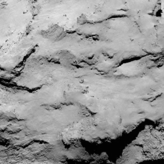 Philae lander candidate site I is located on the smaller lobe of the comet. It is a relatively flat area, and may contain some fresh material. Image released Aug. 25, 2014.