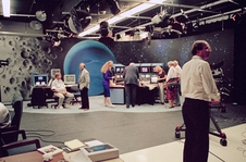 For the Voyager 2 flyby of Neptune on Aug. 25, 1989, NASA transformed its television studio at the Jet Propulsion Laboratory into Neptune central, with a detailed set and video displays to share the latest images and data from the spacecraft.