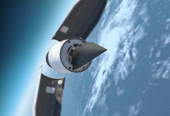 This artist's illustration depicts DARPA's Falcon Hypersonic Test Vehicle as it emerges from its rocket nose cone and prepares to re-enter the Earth's atmosphere.