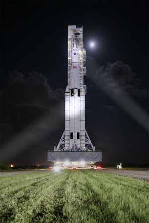 As seen in this artist's illustration, SLS will represent the most powerful rocket in history. Image released Aug. 27, 2014.