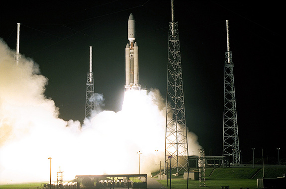 A Titan 4B rocket launches from Cape Canaveral Air Force Base in Florida on Oct. 15, 1997 with NASA's Cassini Saturn-bound probe.