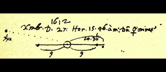 "On the night of 1612 December 27/28, Galileo sketched the positions of Jupiter's moons, and included a background ""star"" which turned out to be the planet Neptune."
