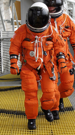 Astronaut in ACES suit from the STS-130 space shuttle mission.