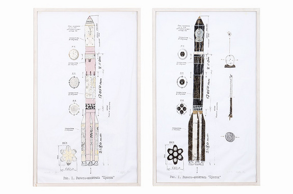 Pop artist Andora's original draft designs for the Russian Proton rocket he was commissioned to paint in 1992, as set to be sold at auction Sept. 13, 2014 in Berlin.