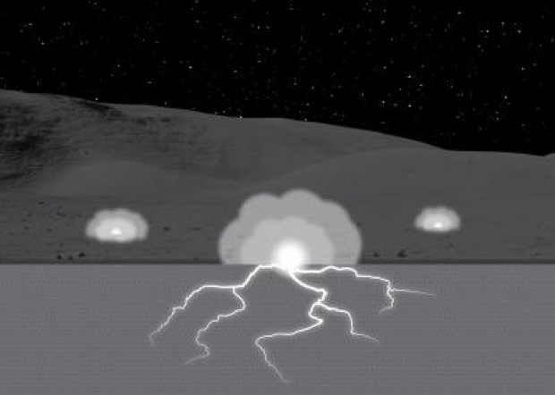 Moon Undergoing Subsurface Sparking