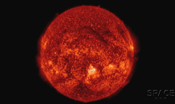 A filament can be seen on the upper center region of the sun.