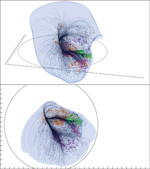 Two views of the Laniakea Supercluster, a massive collection of galaxies that contains Earth's Milky Way galaxy and many others, are shown in these computer-generated images.