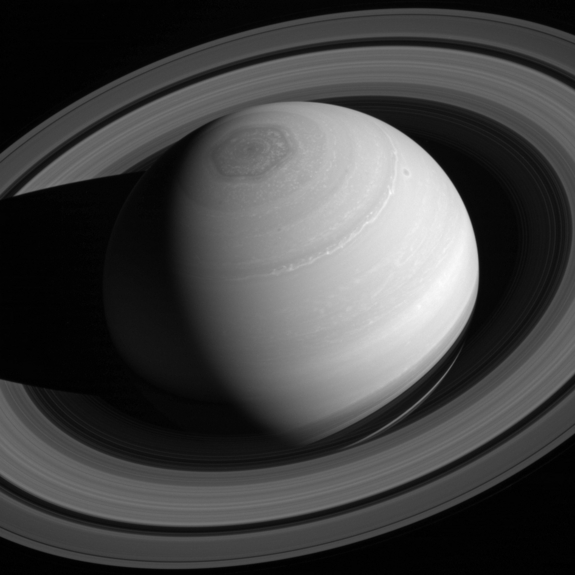 Saturn's north pole hexagon and vortex are brilliantly displayed in this photo taken in May.