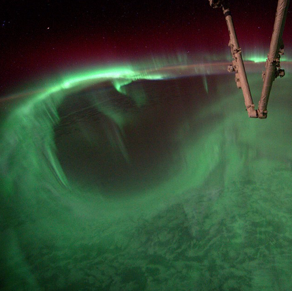 Astronaut Steve Swanson posted this image of auroras below the International Space Station to Instagram on Aug. 27, 2014.